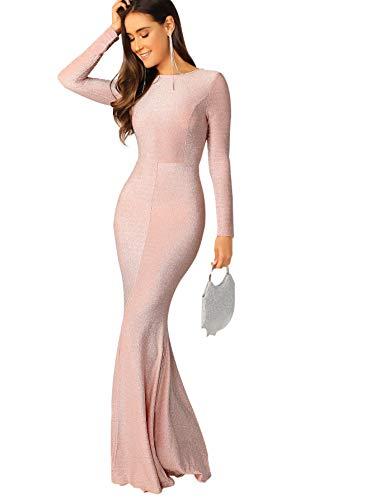 Verdusa Women's Elegant Open Back Slit Glitter Bodycon Cocktai Party Prom Dress Pink L (Open Back Pink Dress)