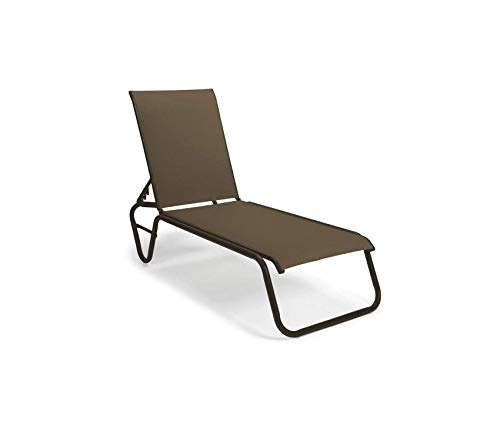 - Wood & Style Patio Outdoor Garden Premium Furniture Gardenella Sling Collection Four-Position Lay-Flat Stacking Aluminum Armless Chaise, Preston, Textured Beachwood Finish