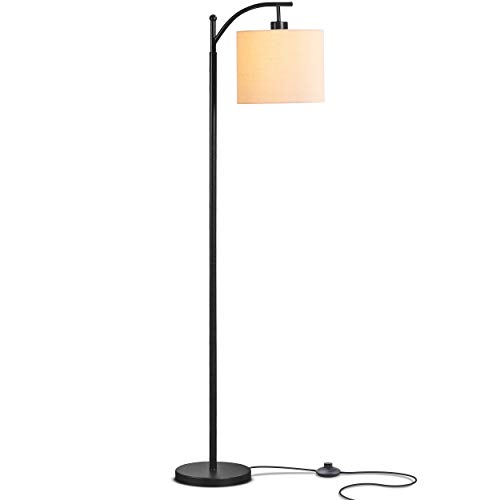 Brightech Montage - Bedroom & Living Room LED Floor Lamp - Standing Industrial Arc Light with Hanging Lamp Shade - Tall Pole Uplight for Office - with LED Bulb- Black
