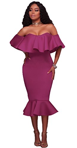 Party Off Blansdi Purple Bodycon Dress Midi Shoulder Mermaid Ruffle Clubwear Women Solid H5qFqw1R