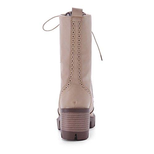 Allhqfashion Mujeres Solid High-heels Ronda Cerrada Dedo Del Pie Pu Botas Con Cordones Beige