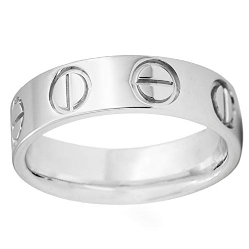 (CHOOOICE Stainless Steel Wedding Band Classics Ring Unisex Gift for Women & Men Simple Silver 6mm Cool Ring (10))