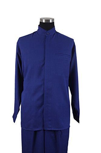 - New Men's 2-piece Mandarin/ Banded Collar Casual Shirt Set /Walking Suit 2826 (L/36, R.Blue)
