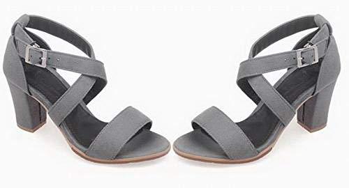 Fibbia Grigio Assortito Colore Sandali Plastica Donna AgooLar Punta GMMLB010819 Aperta xwgtIvtzEq