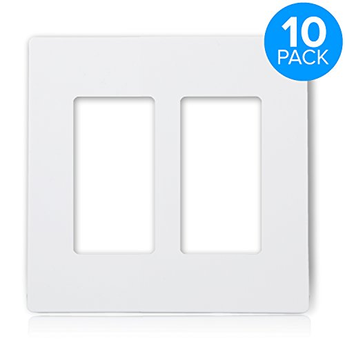 (Maxxima 2 Gang Decorative Outlet Screwless Wall Plate, White, Multi Outlet, Standard Size (Pack of 10))