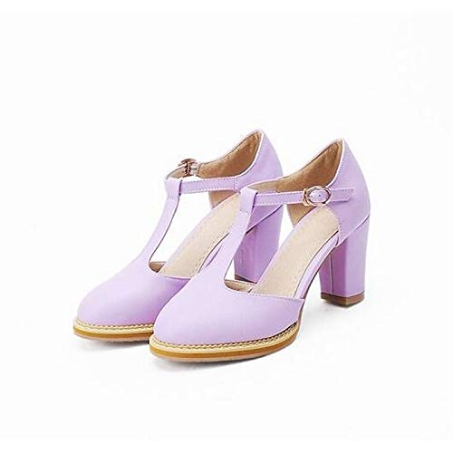 Women's Purple Heels Pink Almond Purple Comfort ZHZNVX Spring Chunky Polyurethane PU Shoes Heel d7naUqxHT