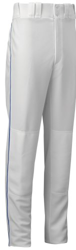 Mizuno Youth Full Length Select Piped Baseball Pant (White/Royal, (Select Piped Pant)