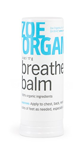 Zoe Organics -Breathe Balm, Gentle and Effective Aromatherapy, Helps You Breathe Easier and Naturally Soothes, Organic Essential Oils, Calms and Supports Rest During Colds, Allergies and Flu(17 Grams)