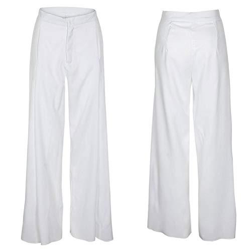 2ef1e2da9 Women Loose Office Ladies Long Trousers Yellow White Elegant OL Pants  Pantalon Femme High Waist Wide Leg Pants White XL