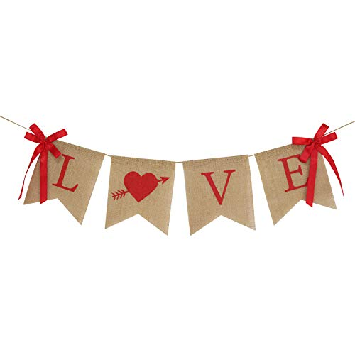 Love Banner with Red Ribbons | Valentines Day Decorations | Love Burlap Banner | Valentines Burlap Banner | Cupid Valentine Banner