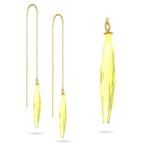 Lemon Citrine Threader Earrings in 14K Yellow Gold (Lemon Citrine Earrings)