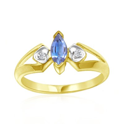 0.02 Cts Diamond & 0.20 Cts Tanzanite Ring in 14K Yellow Gold-9.0 14k Yellow Gold Tanzanite Ring
