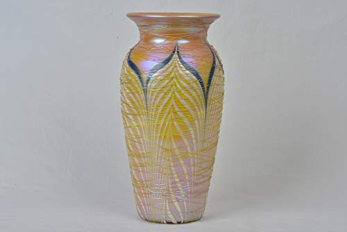 (Durand Art Glass 1925 Tiffany Iridescent Pulled Feather Threaded Vase)