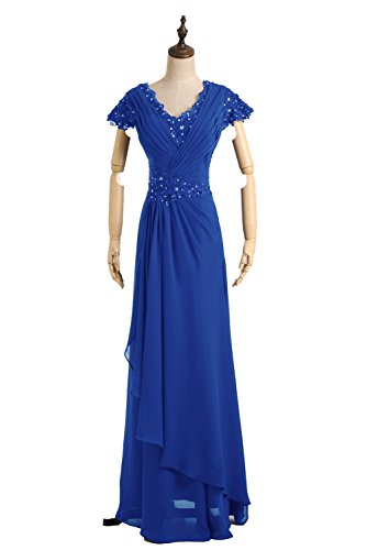 V Brautmutterkleid Royalblau Modern Etui Ballkleid Abendkleid Bride Ausschnitt Lang Gorgeous Chiffon q1wRvntR