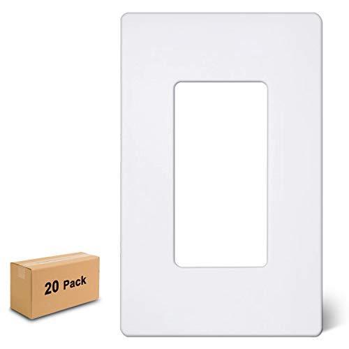 [20 Pack] BESTTEN 1-Gang Screwless Wall Plate, USWP6 Snow White Series, Decorator Outlet Cover, H4.69 x L2.91, for Light Switch, Dimmer, USB, GFCI, Receptacle, UL Listed