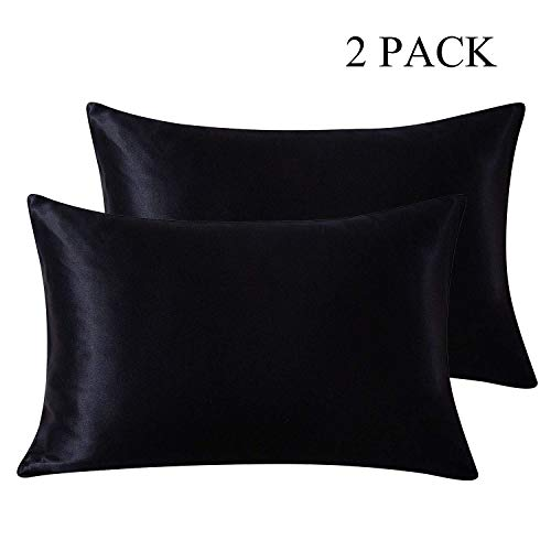 DOMIKING Silk Satin Pillowcase - 2 Pack Pillow Cases Queen Size/King Size for Hair and Skin Ultra Soft and Comfortable (Black Satin, Queen)
