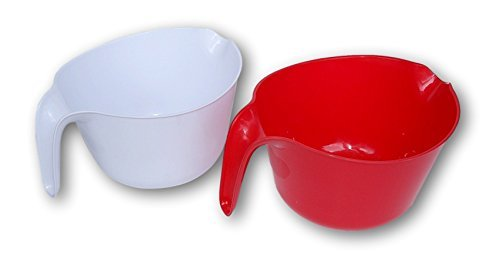 (Lightweight Plastic Pourable Mixing Bowls - Set of 2 - Red and White)