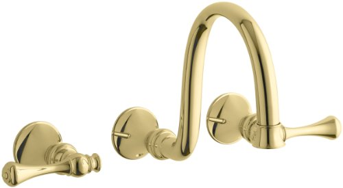 (KOHLER K-T16106-4A-PB Revival Wall-Mount Faucet with Traditional Lever Handles, Vibrant Polished Brass )