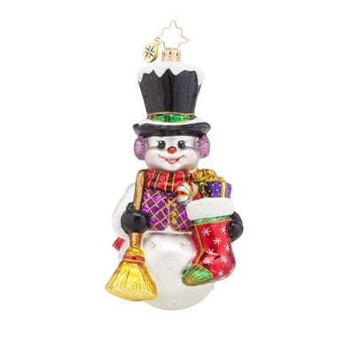 Christopher Radko Snowy Sweeper Snowman Glass Christmas Ornament - 5.5