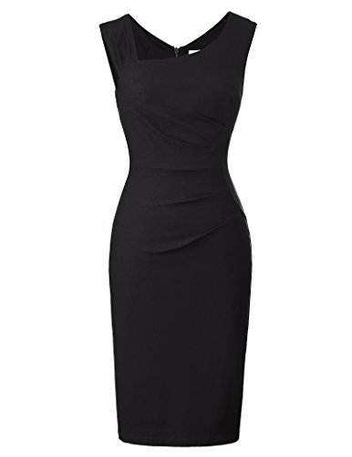 Belle Poque Elegant Sleeveless Vintage Pleated Pencil Dress for Women 302