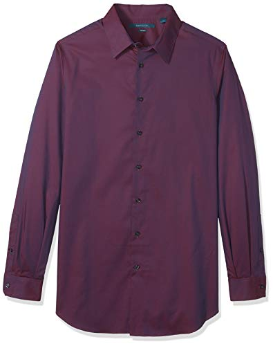 Perry Ellis Men's Big and Tall Non-Iron Travel Luxe Solid Shirt, Midnight Plum, Large by Perry Ellis