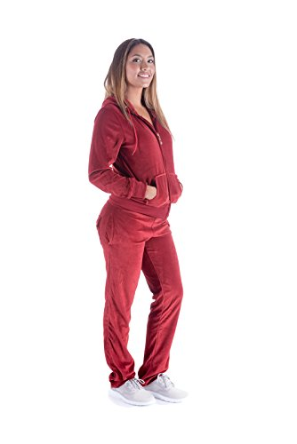 Mother's Day Sale! - Women's Soft Active 2 Piece Velour Hoodie & Pants Tracksuit Set (XX-Large, ()