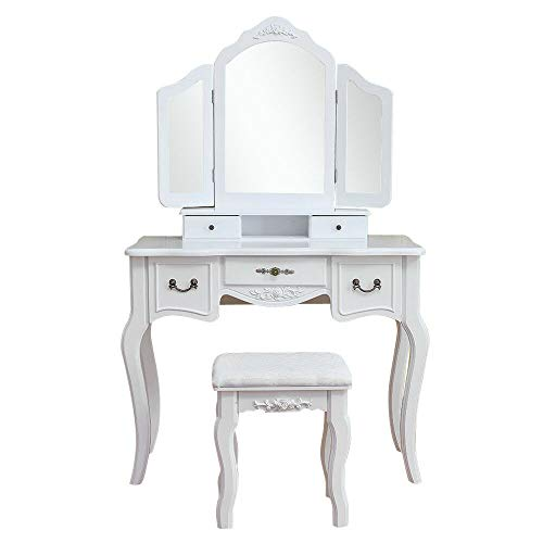 9rit_shop Elegant Luxurious Design Vanity Beauty Station White Tri-Folding Mirror Vanity Set 5 Drawers Dressing Table Makeup Desk & Stool Mesmerizing Beauty