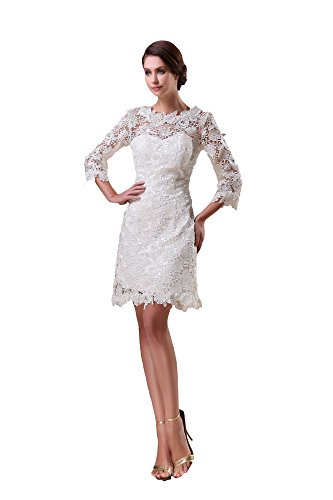 VogueZone009 Womens Crew Neck 3/4 Length Sleeve Silk Pongee Dress with Lace, White, 16 by VogueZone009