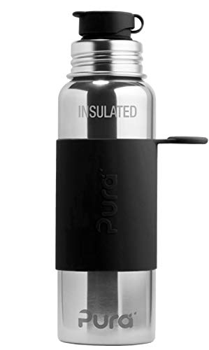 Pura Sport Vacuum Insulated 22 OZ / 650 ML Stainless Steel Water Bottle with Silicone Sport Flip Cap & Sleeve, Black (Plastic Free, Nontoxic Certified, Bpa Free)