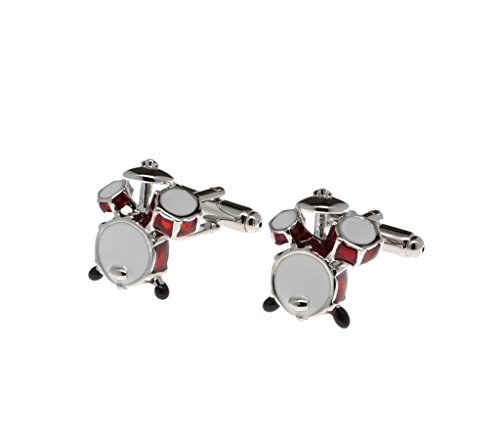 Mens Cuff Links Silver and Red Drum Set with Gift Box
