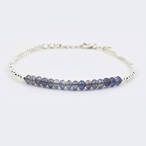 Iolite Set - Blue Iolite Beads Bar Bracelet with Sterling Silver findings 6.50