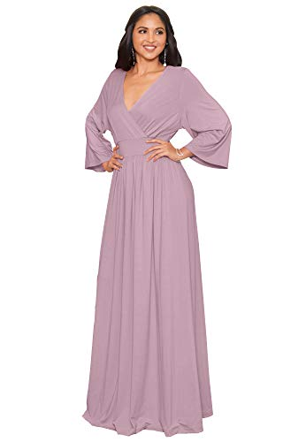 KOH KOH Womens Long Kimono Sleeve with Sleeves Wrap Fall Winter Empire Waist Flowy Casual Formal Cute Maternity Robe Abaya Gowns Gown Maxi Dress Dresses, Dusty Pink L 12-14 (1)