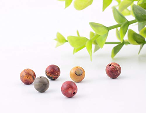 Natural Stone Beads 100pcs 8mm Picasso Jasper Round Genuine Real Stone Beading Loose Gemstone Hole Size 1mm DIY Charm Smooth Beads for Bracelet Necklace Earrings Jewelry Making (Picasso Jasper)