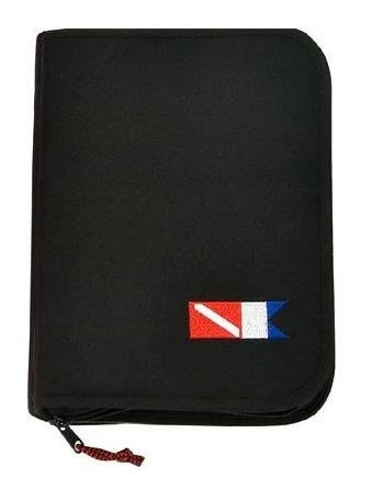 (Trident New Scuba Diving 3 Ring Zippered Log Book Binder with Free Generic Log Insert ($12.95 Value) - Black with Diver Down Flag)