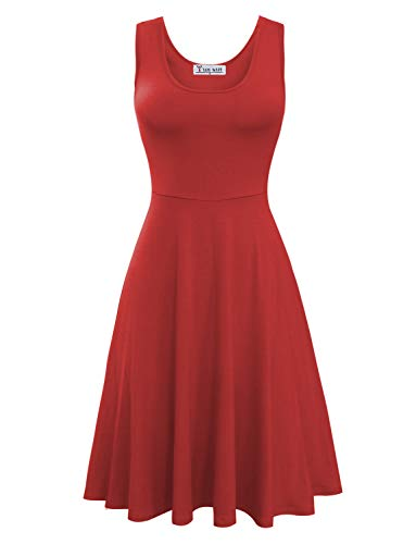 TAM WARE Womens Casual Fit and Flare Floral Sleeveless Dress TWCWD054-D155-RED-US S