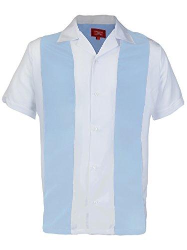 Maximos Men's Retro Charlie Sheen Two Tone Guayabera Bowling Casual Dress Shirt