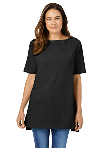 Woman Within Women's Plus Size Perfect Short-Sleeve Boat-Neck Tunic