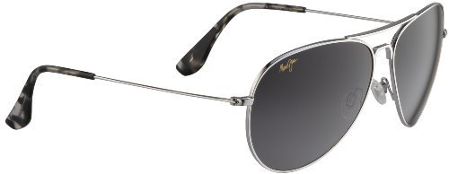 Maui Jim Mavericks 264 Sunglasses, Silver w/ Grey Lens, - Jim Mavericks Maui Silver