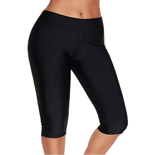 - Calflint Womens Mid Waist Rash Guard Pants Crop Swim Leggings Unitard Tankini Capri Tag 3X-Large Size Black