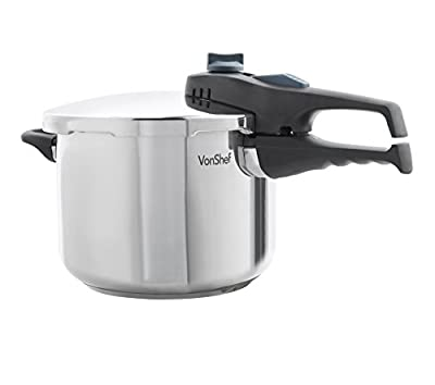 VonShef Stainless Steel Pressure Cooker For All Cooking Surfaces, 6.3 FL OZ