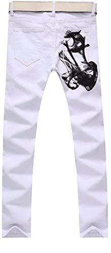Progettato Pantaloni In Ragazzo Stampa Retrò Con Di Jeans Casual Uomo Bianchi Bianca Denim Taglio Da Diritto Moda w4Ug8qI
