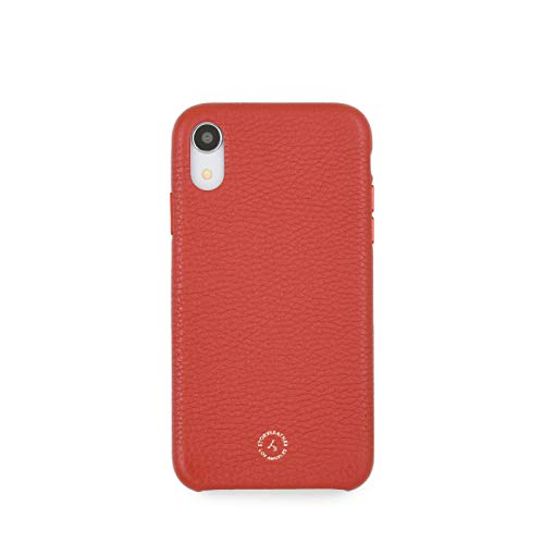 Apple iPhone XR / 10r Handcrafted Premium Red Pebble Grain Genuine Leather Case - Gift Box Packaging