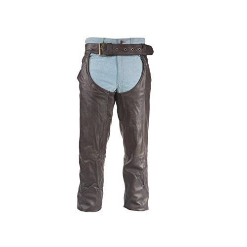 (Dealer Leather MEN'S MOTORCYCLE RIDING BROWN LEATHER CHAPS BUTTER SOFT THICK LEATHER (L Regular))