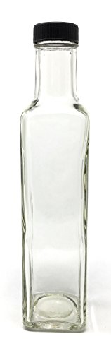250 ml (8 oz) Square Glass Bottle with Lids (12 Pack) Marasca and Quadra Bottle (Quadro Glass Lid)