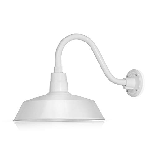 14in. White Outdoor Gooseneck Barn Light Fixture With 14.5 in. Long Extension Arm - Wall Sconce Farmhouse, Vintage, Antique Style - UL Listed - 9W 900lm A19 LED Bulb (5000K Cool White)