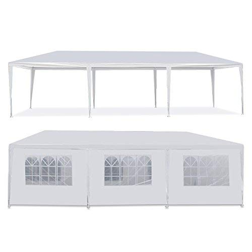 HomGarden 10'x30' Outdoor White Gazebo Patio Canopy Tent Camping Gazebo Storage Shelter Pavilion Cater for Party Wedding Events BBQ w/ 8 Removable Sidewalls ()