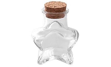 Lovely Star forma pequeñas botellas tarros transparente vacío que deseen mensaje envases de vidrio con tapón