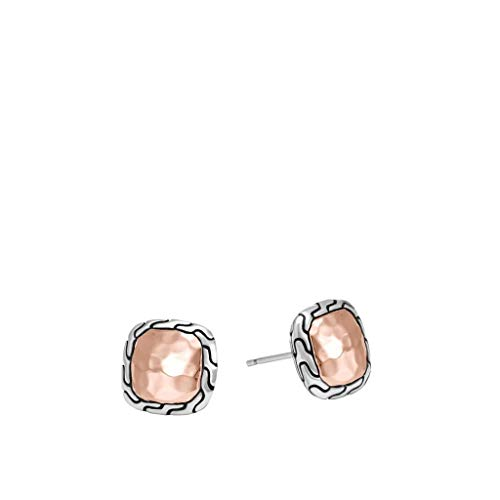 - John Hardy Women's Classic Chain Hammered 18K Rose Gold & Silver Stud Earrings - EZ971244R