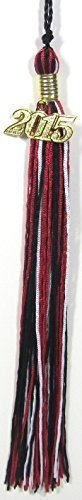 Black/Red/White Graduation Tassel with Gold Charm by KHO
