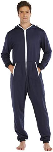 seulement moi Men`s Two Way Zipper Jumpsuit One Piece Pyjamas Playsuit (Navy M)